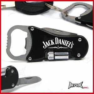 jack daniels logo keyring pocket knife led torch bottle opener keychain. Black Bedroom Furniture Sets. Home Design Ideas