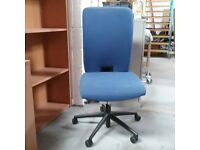 Konig + Neurath blue fabric operator chair without armrests