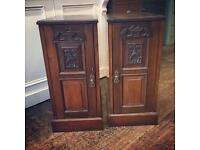 Antique Victorian bedside cabinets cupboards
