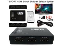 HDMI Switch 5 Port Splitter IR remote control