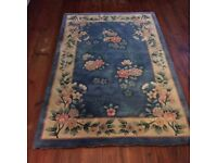 Rectangular light blue chinese style flowery rug 180cmx120cm