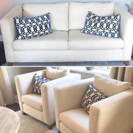 Sofa & two chairs. Couch cream geometric cushions