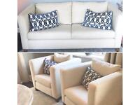Sofa & two chairs. Couch cream geometric cushions