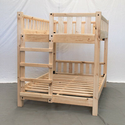 Unfinished Farmhouse Bunk Bed - Queen/Queen / Wood Reclaimed Bunk Bed / Modern /