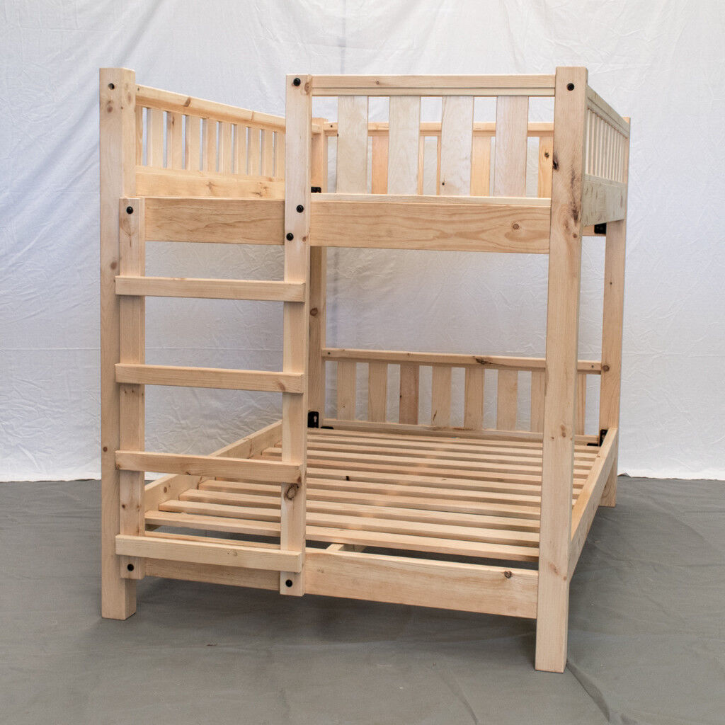 unfinished farmhouse bunk bed queen queen wood