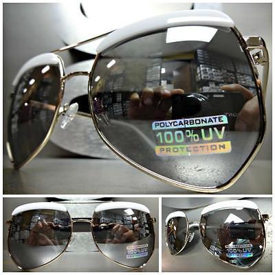Herren oder Damen Übergröße Retro Sonnenbrille Silberrahmen Verspiegelte Linse
