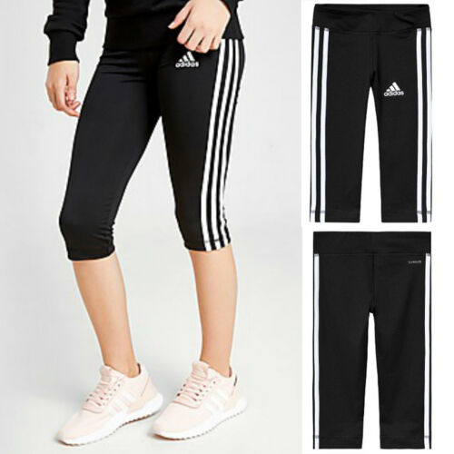 NWT ADIDAS Performance Girls Capri Leggings Black/White Stripes SIZES S, L