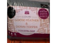 , Brand New Goose Down and Feather mattress topper for small double