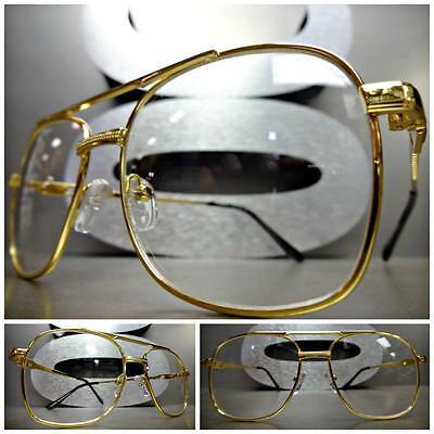 Men VINTAGE RETRO AVIATORS Style Clear Lens EYE GLASSES Small Gold Fashion Frame