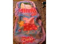 Inflatable Peppa travel bed with attached sheets