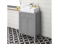 Modern Bathroom Vanity Unit Floorstanding Grey Sink Countertop Basin Furniture