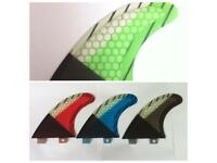SURFBOARD FINS Honeycomb/Carbon FCS Fit Surf Fin,G5/M5 Thruster Set3 Performance core Green