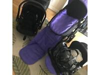 iCandy Strawberry 2 & Car Seat (Black Pushchair & Carrycot Never Used)