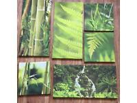 6 piece woodland bamboo canvas art work good conditon