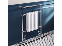 Traditional Slimline Towel Radiator - Brand New - Including Chrome Valves