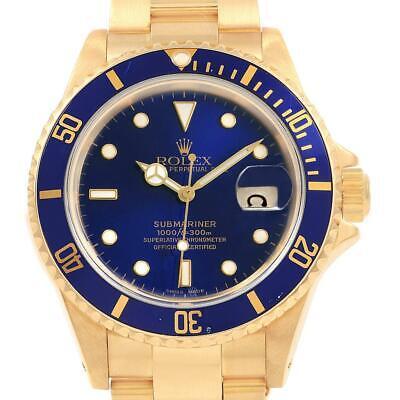 Rolex Submariner 18K Yellow Gold Blue Dial Bezel Mens Watch 16618