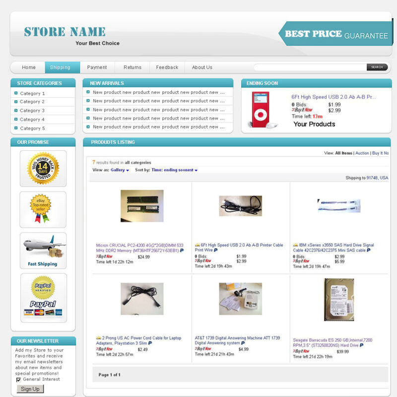 Baby Blue - eBay Professional Design Listing Template and Store Layout Theme