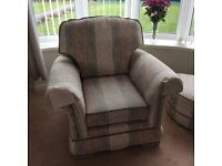 3 piece suite and foot stool. 3 seater, 2 seater, arm chair, large foot stool . Very good condition