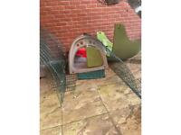 Omlet Eglu Classic Green Rabbit Cage and 2m run with sun shield.