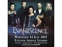 2 x Evanescence standing tickets Weds 14th June Eventim Apollo