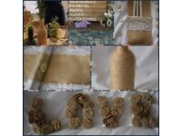 JOB LOT RUSTIC WEDDING DECORATIONS HESSIAN LACE WOODEN TABLE CENTRE PIECE VINTAGE CHIC