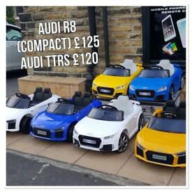Parental Remote & Self Drive Audi Offer R8 (Compact) £125, Audi TTRS £110, 12v Ride-On