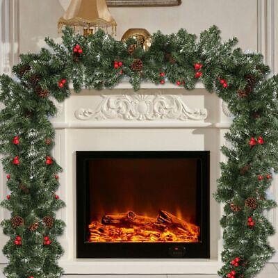 Christmas Fireplace Garland (9ft Long Christmas Garland Decorations Xmas Fireplace Pine Ribbon Ornaments)