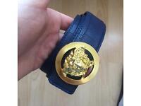 versace belt gold/navy blue