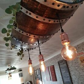 Oak chandelier, made from 75 year old Tennessee whiskey barrel.