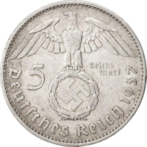 One (1) WW2 German 5 Mark Silver Coin Third Reich Reichsmark Large Swastika
