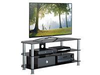 "1home GT5 Black Glass Silver Leg TV Stand 32""-70"" Plasma LCD LED 3D TV 120cm"