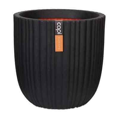 Capi Egg Planter Urban Tube 35x34cm Black Plant Flower Pot Basket Raised Bed