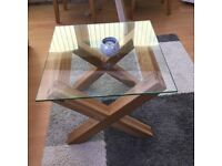 Nice glass oak side or coffee table excellent condition