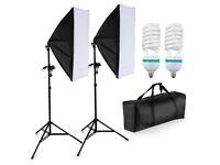 1250W Photography Studio Softbox Lighting Kit - 125W Photo Studio Light Bulbs - Portable Carry Bag