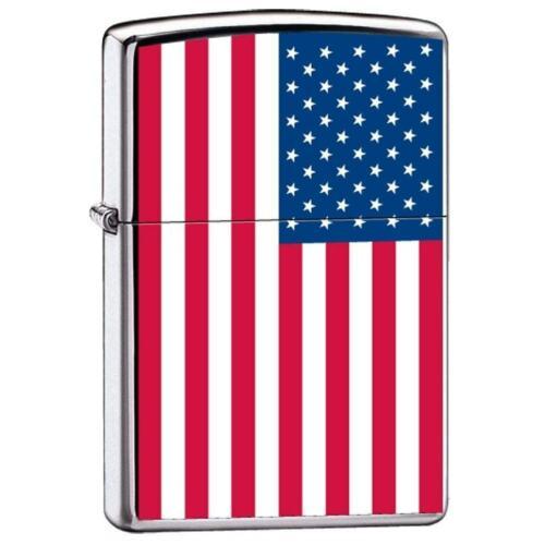 Zippo Lighter - USA United States American Flag High Polish Chrome - ZCI007959