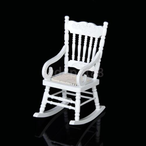 Dollhouse miniature furniture classic white wooden rocking for Small wooden rocking chair for crafts