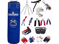 TurnerMAX 13 pc Boxing Set that includes a Blue Vinyl Punch Bag along With Many Other Things