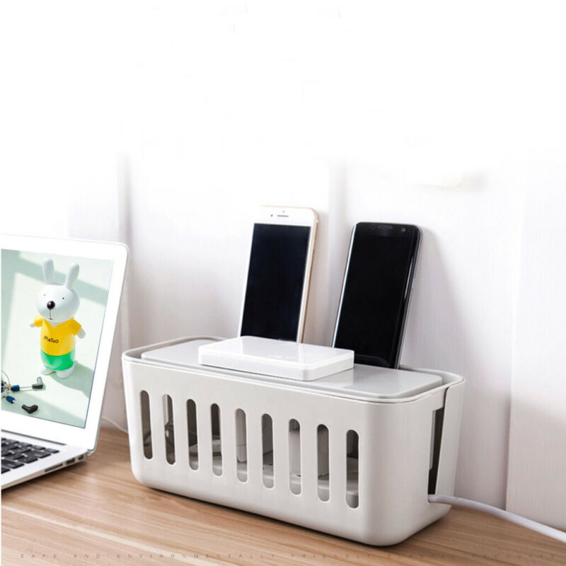 Cable Management Box Cord Organizer Box Power Strip Cover Wi