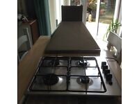 Stainless steel gas hob and extractor