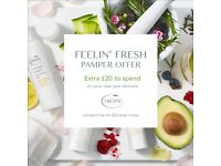 Book your free pamper experience and receive free products