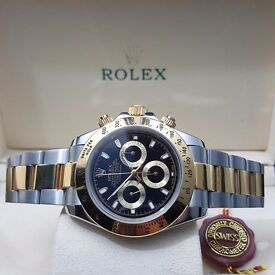 New TwoTone Bracelet Black Face Rolex Daytona with Automatic Sweeping Hands