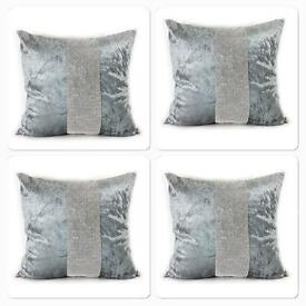 4 silver velvet diamante cushion