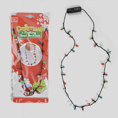 Christmas Flashing Luminous LED Light Up Necklace Costume Xmas Party Blinking