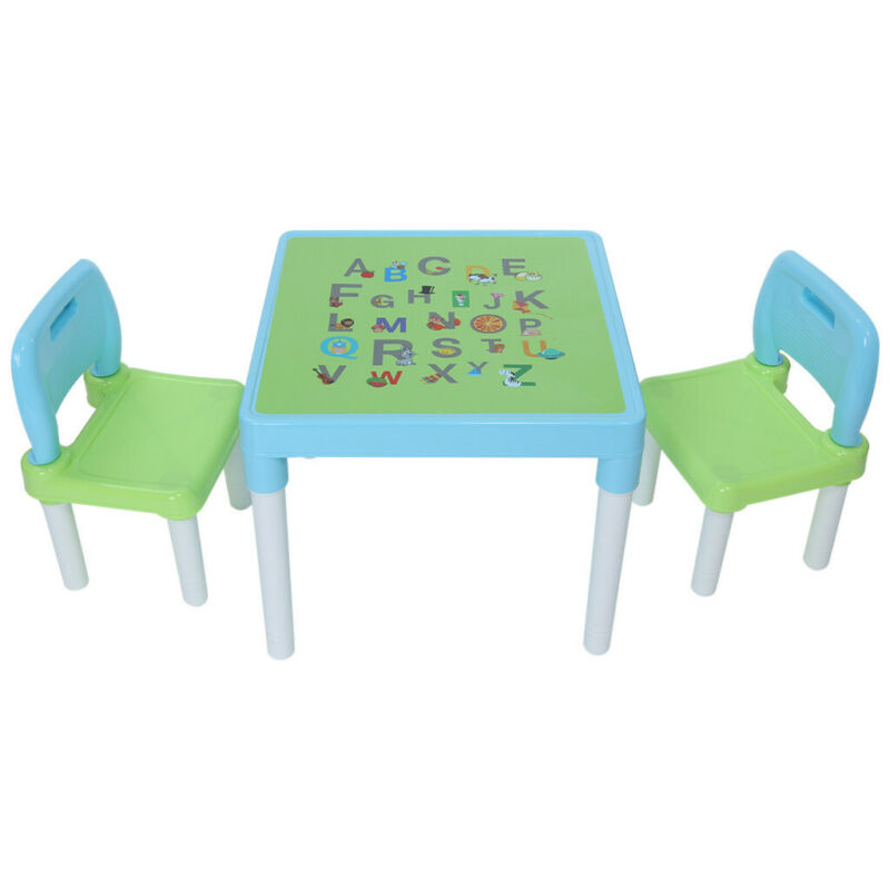 Plastic Kids Table With 2 Chairs Set, Set For Boys Or Girls