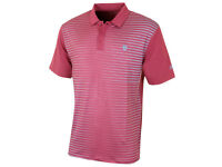 Island Green Mens Stripe Detail Golf Polo Shirt in Berry Large Size BNWT