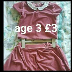 Girls velvet top and skirt set age 3