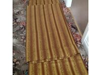 Brocade Curtains. 1 Pair. Gold, bronze and brown. AS NEW.