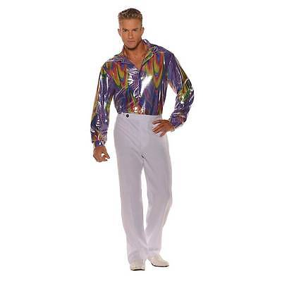70S 80S DISCO SHIRT COSTUME DANCE SATURDAY NIGHT FEVER PIMP SHINY MENS PURPLE (Men 80s Costumes)