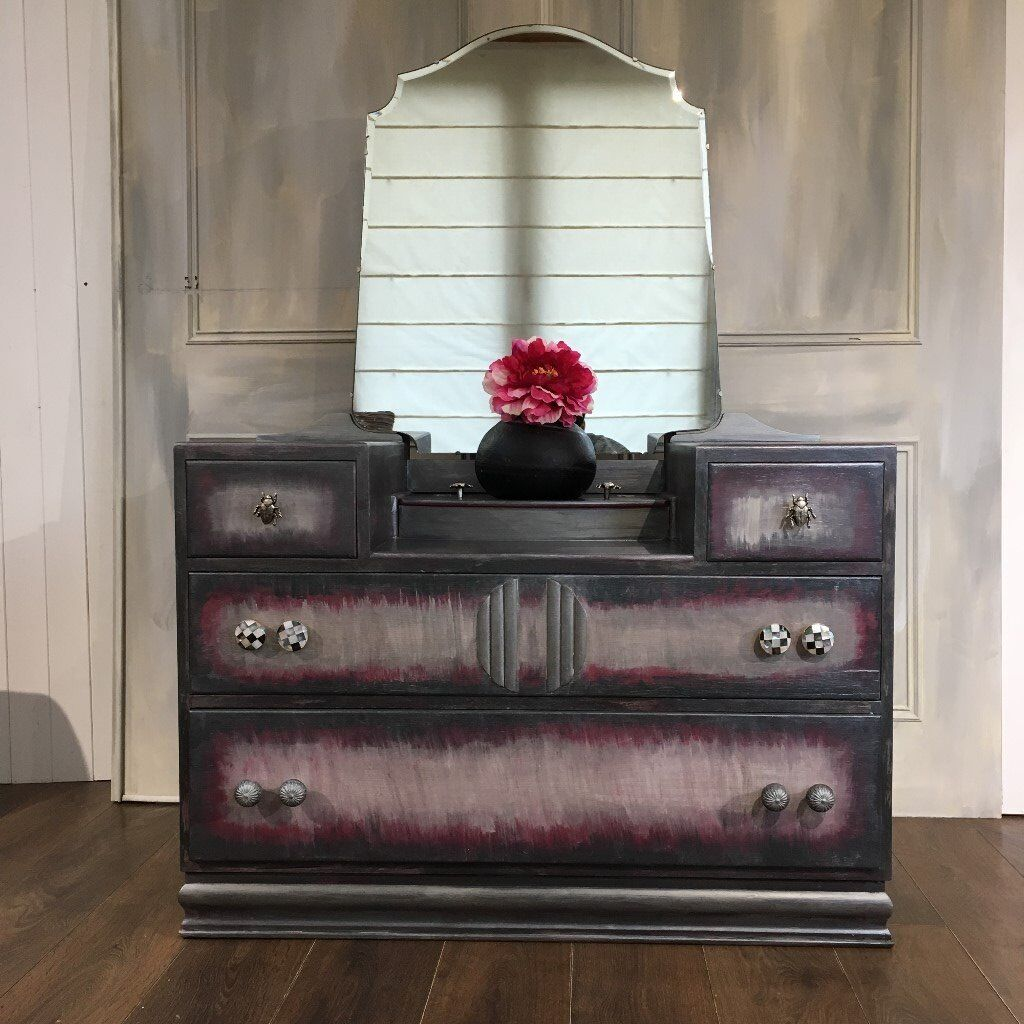 Upcyled Vintage Dressing Table Hand Painted Grey Gothic Furniture