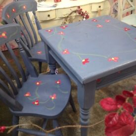 Upcycled Dining Table plus Two Chairs - Annie Sloan Old Violet, with Decorative Flowers